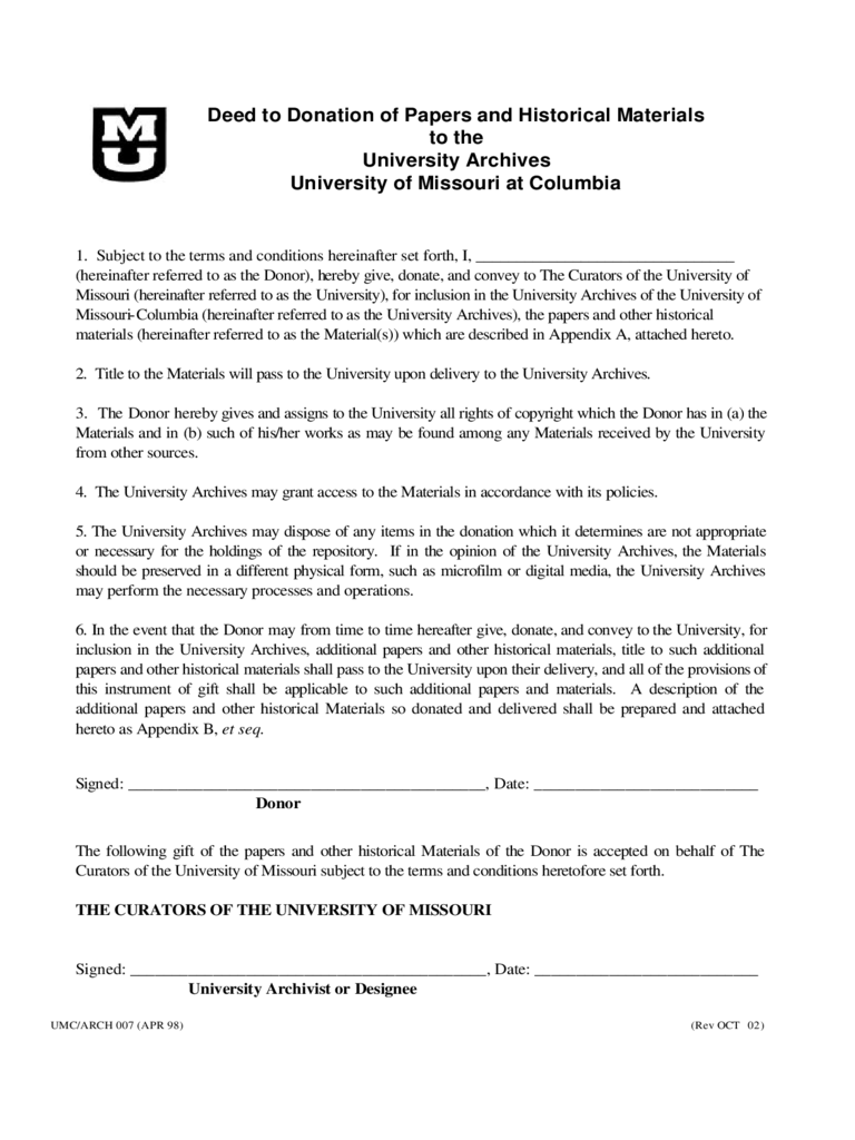 Deed of Donation Form - University of Missouri