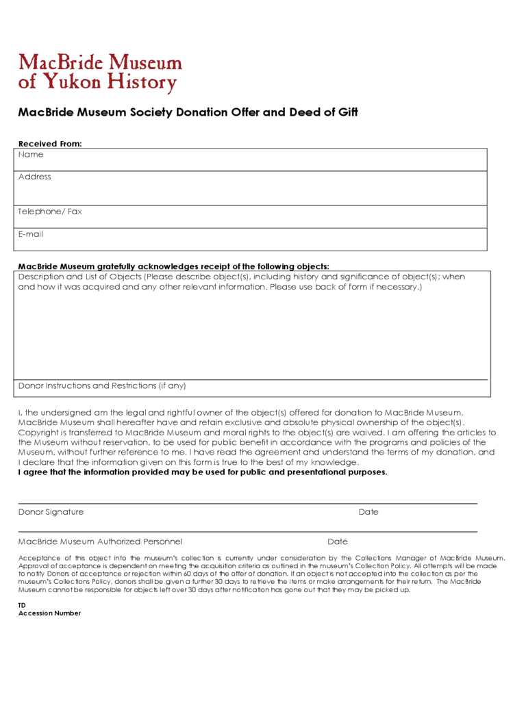 Deed of Donation Form - 2 Free Templates in PDF, Word ...