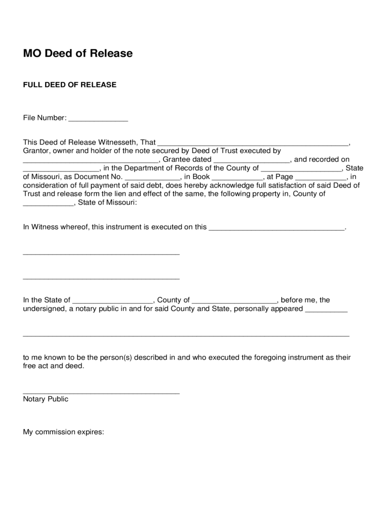 Full Deed of Release Form
