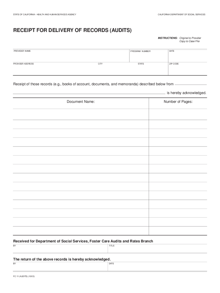 Receipt For Delivery Of Records   California  Delivery Slip Template