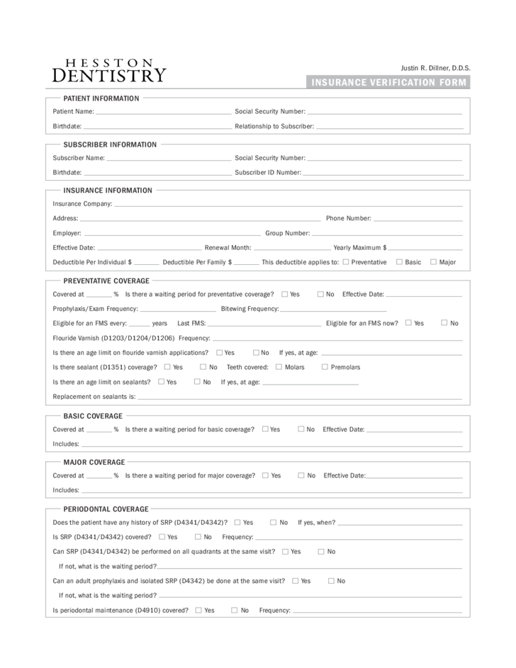 Dental Insurance Dental Insurance Breakdown Form