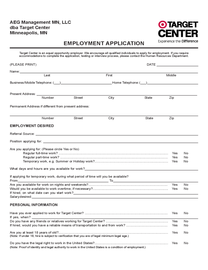 target center employment application form free download