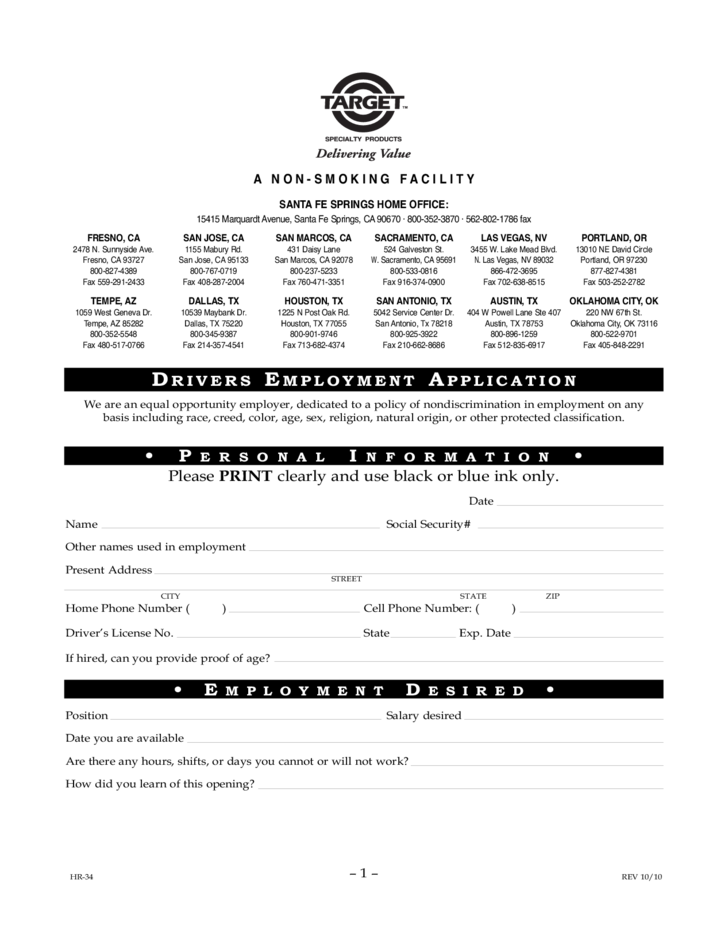 Target Drivers Employment Application Form Free Download
