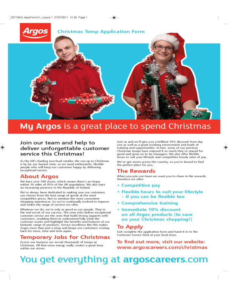 Argos Christmas Temp Job Application Form Free Download