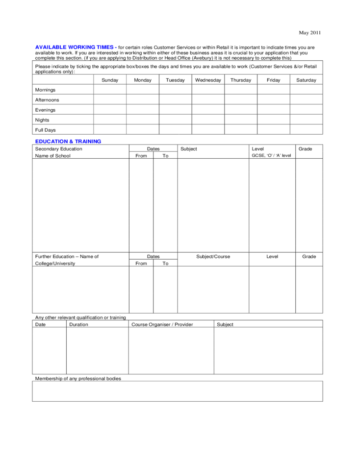 Argos Application For Employment Form Free Download