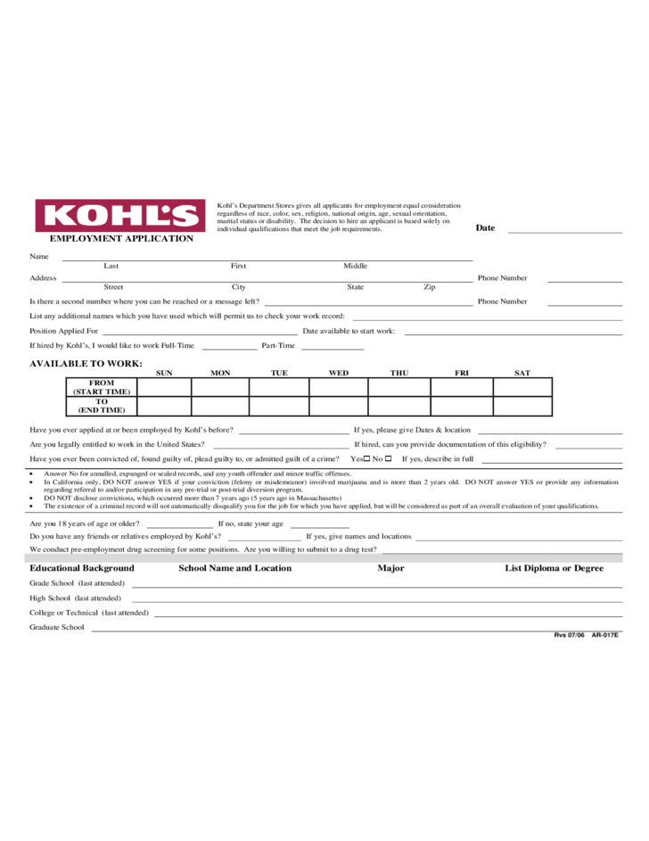 kohl s employment application form free download