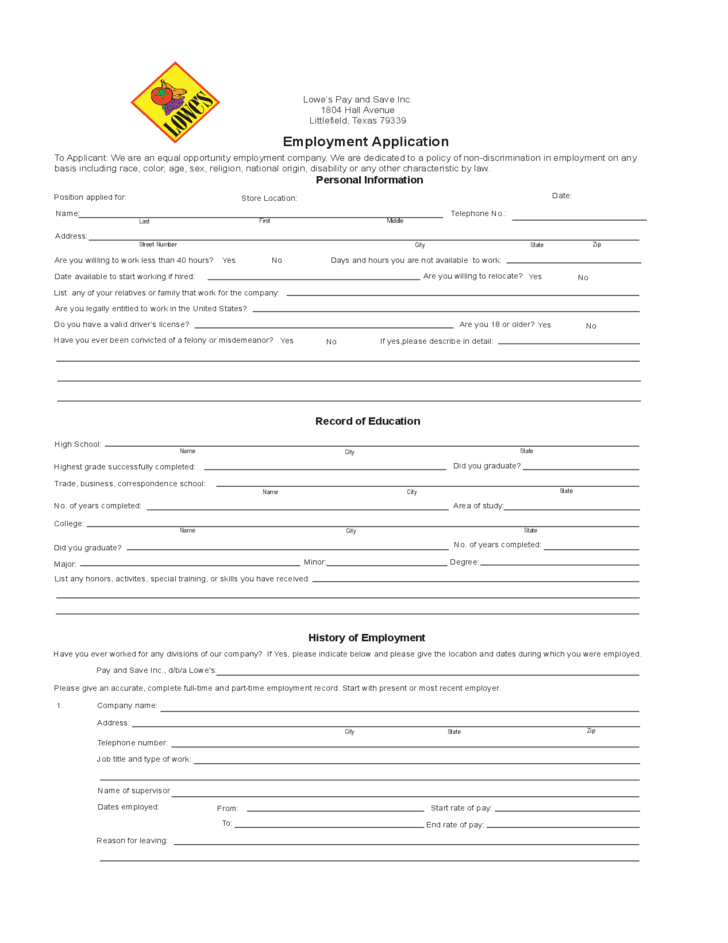 lowe u0026 39 s employment application form free download