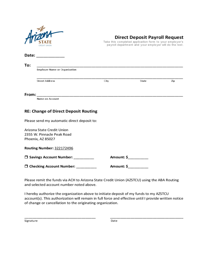 direct deposit payroll request form