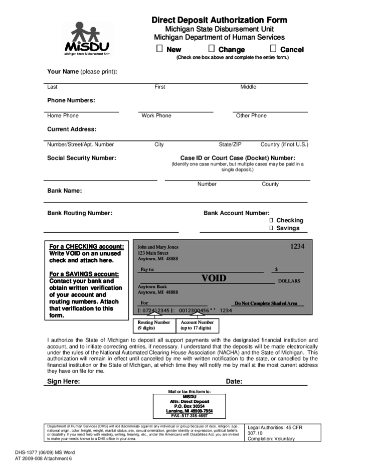 direct deposit authorization form michigan free download