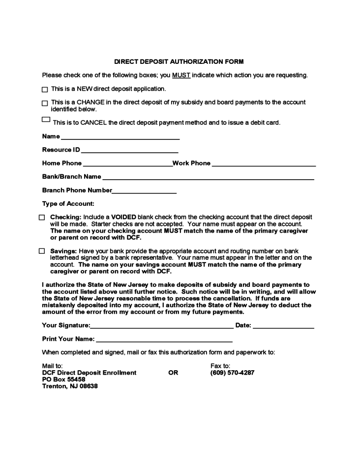 direct deposit form blank  Direct Deposit Authorization Form - New Jersey Free Download