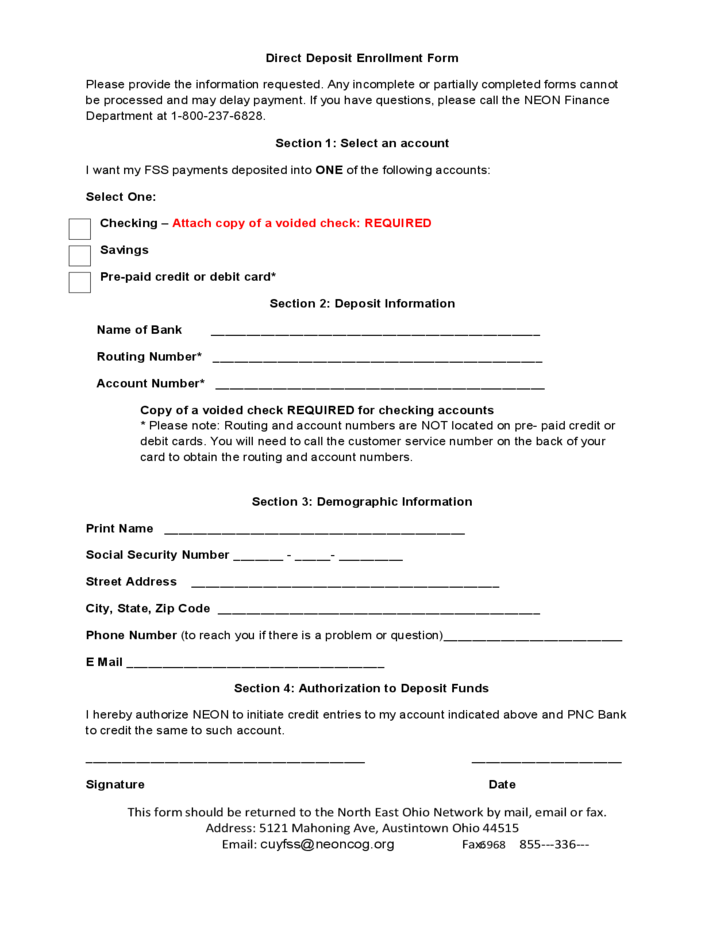 Direct Deposit Enrollment Form Ohio Free Download Png 728x943
