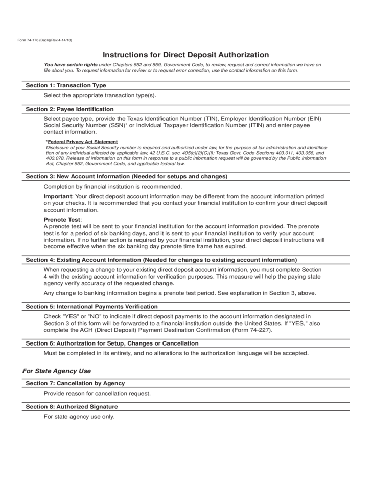 Sample Direct Deposit Authorization Forms