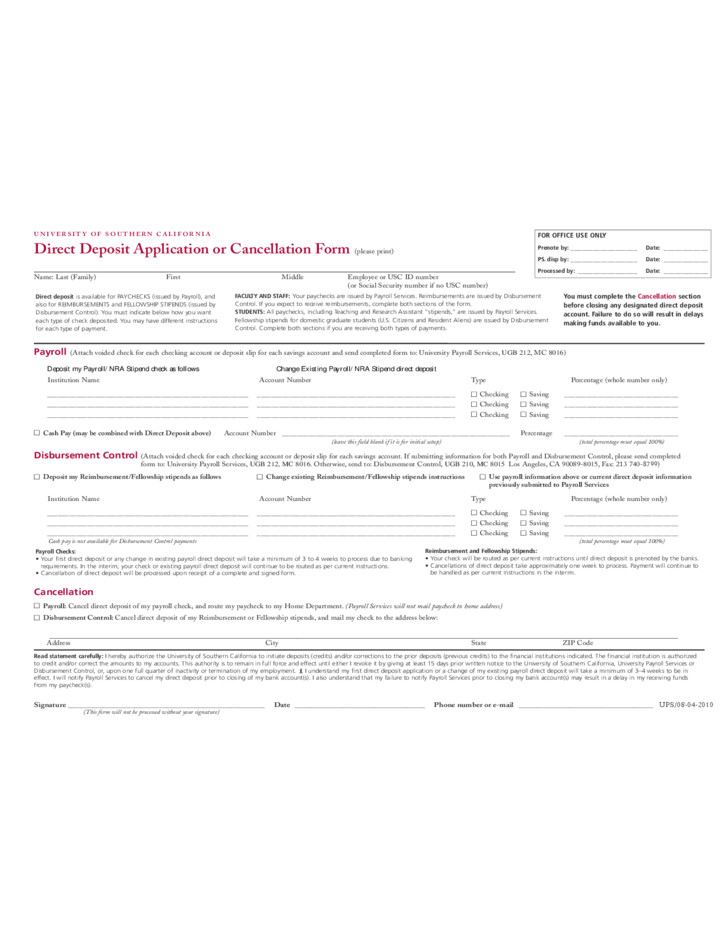 Direct Deposit Cancellation Form Template 12 Lessons I Ve