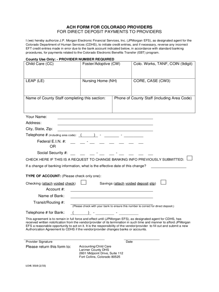 free direct deposit form template