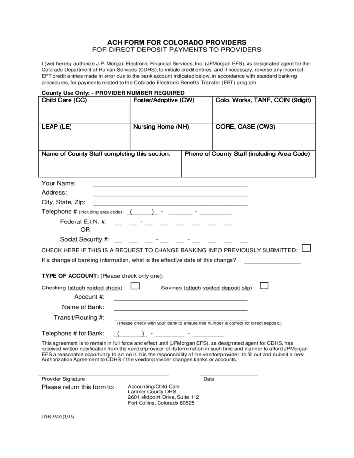 Ach Form For Direct Deposit Payments To Providers