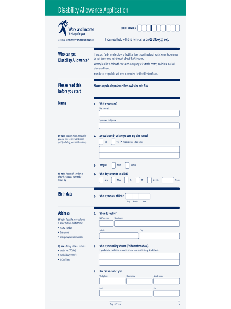 Disability Allowance Form - New Zealand Free Download