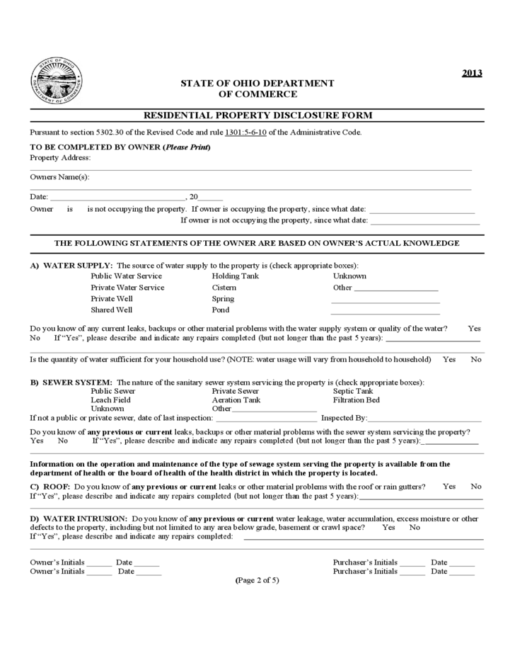 Residential Property Disclosure Form - Ohio Free Download