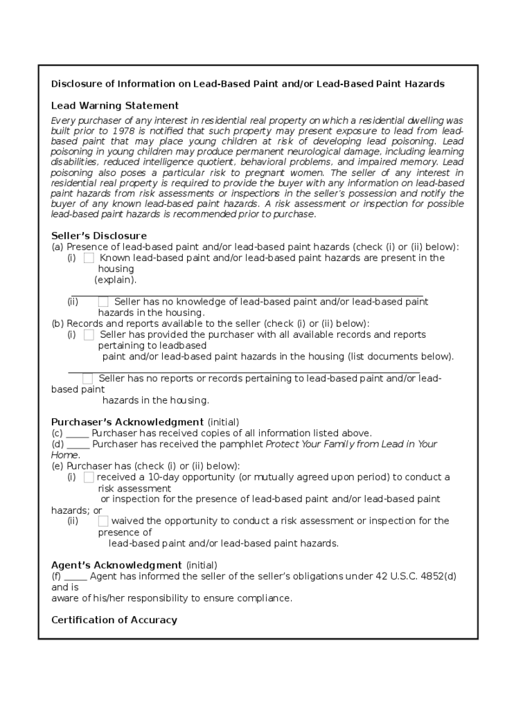 Disclosure of Information on Lead Warning Statement