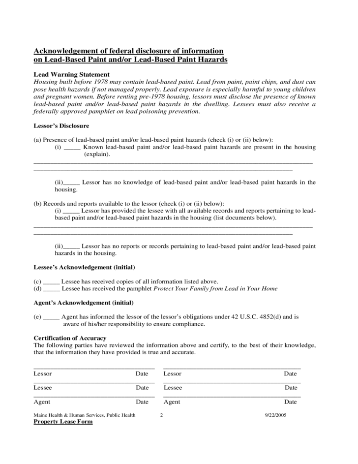 maine lead based paint disclosure form free download