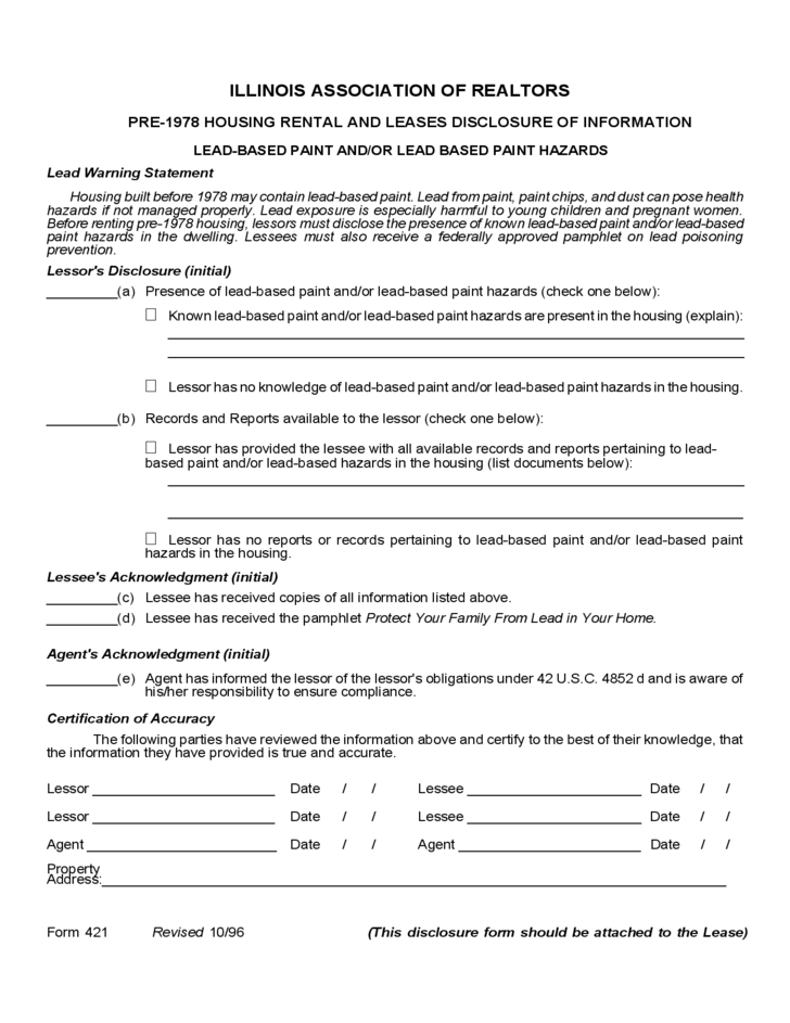 illinois lead based paint disclosure form free download