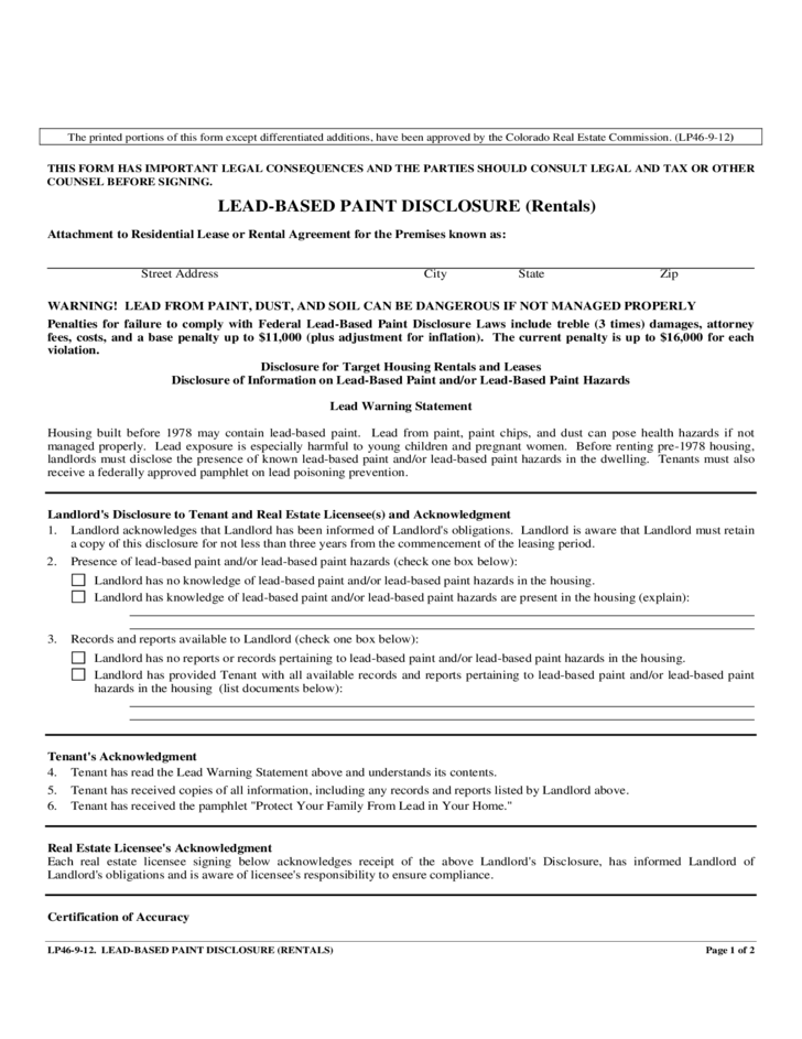 colorado lead based paint disclosure form free download
