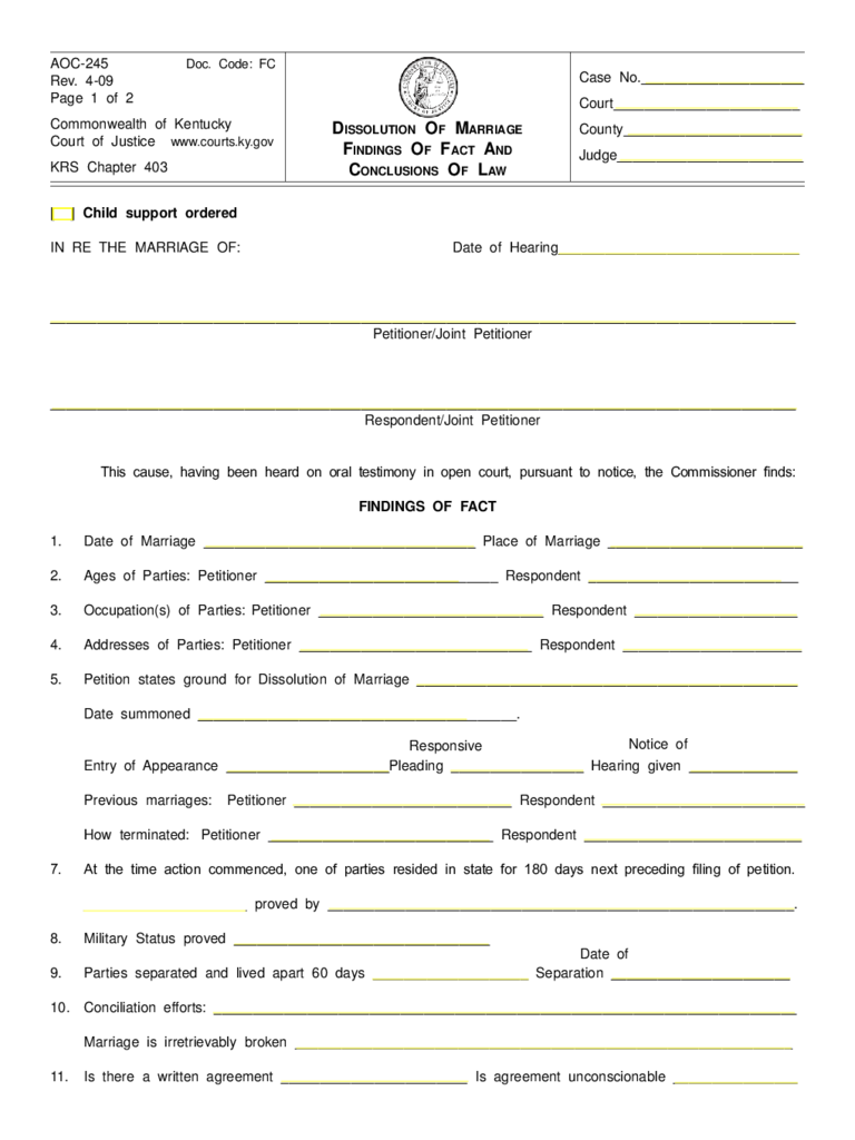 dissolution of marriage form