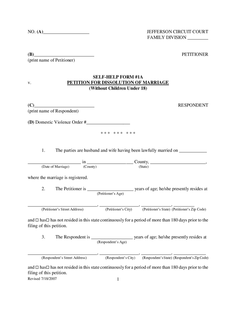 Dissolution of marriage form for illinois