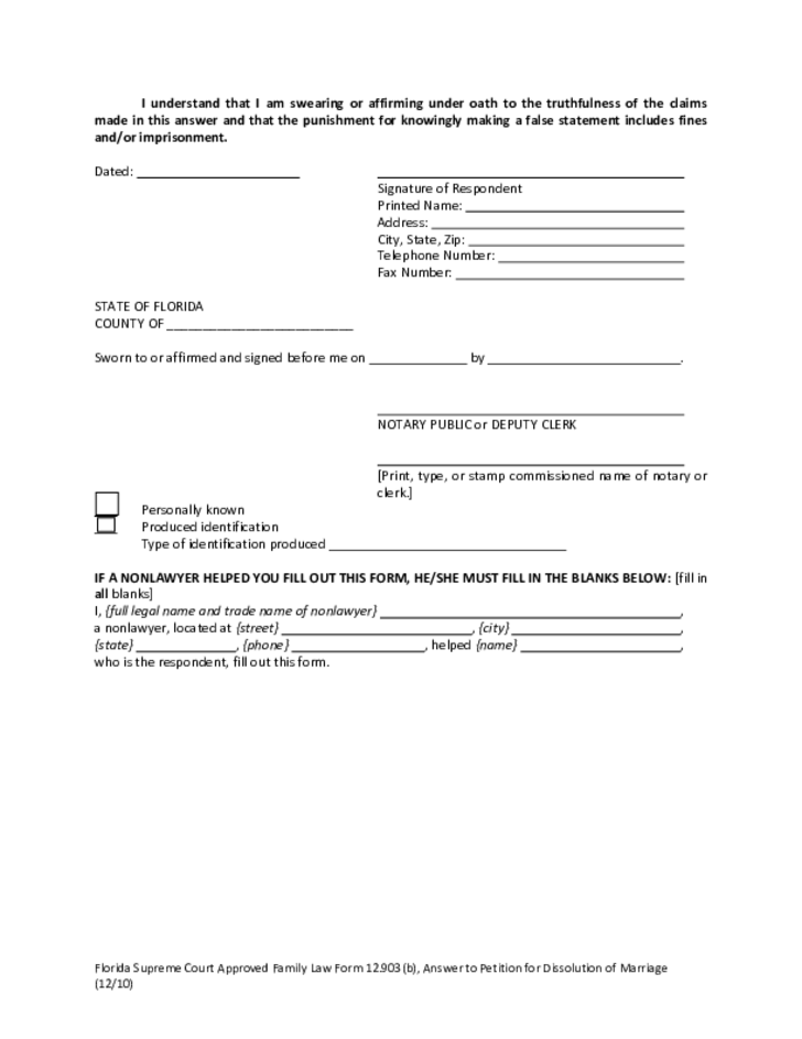 sample answer to petition for dissolution of marriage