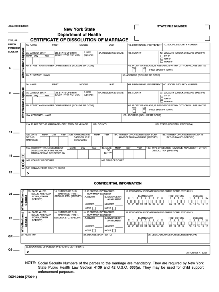 Certificate of Dissolution of Marriage - New York State