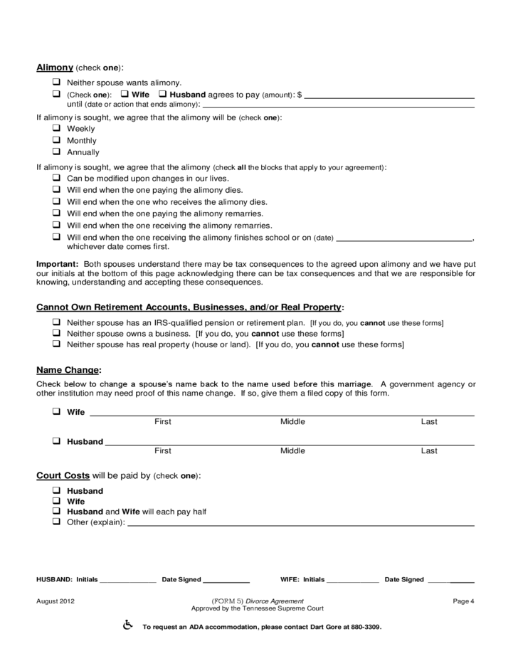Marital Dissolution Agreement Tennessee Free Download