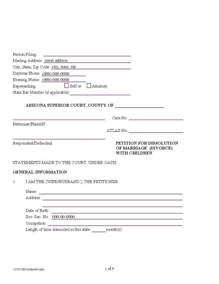 divorce papers arizona Copies / kinds available the public may obtain copies of criminal, civil, domestic relations / family court(divorce decrees), probate and tax court case files, in addition to marriage licenses.