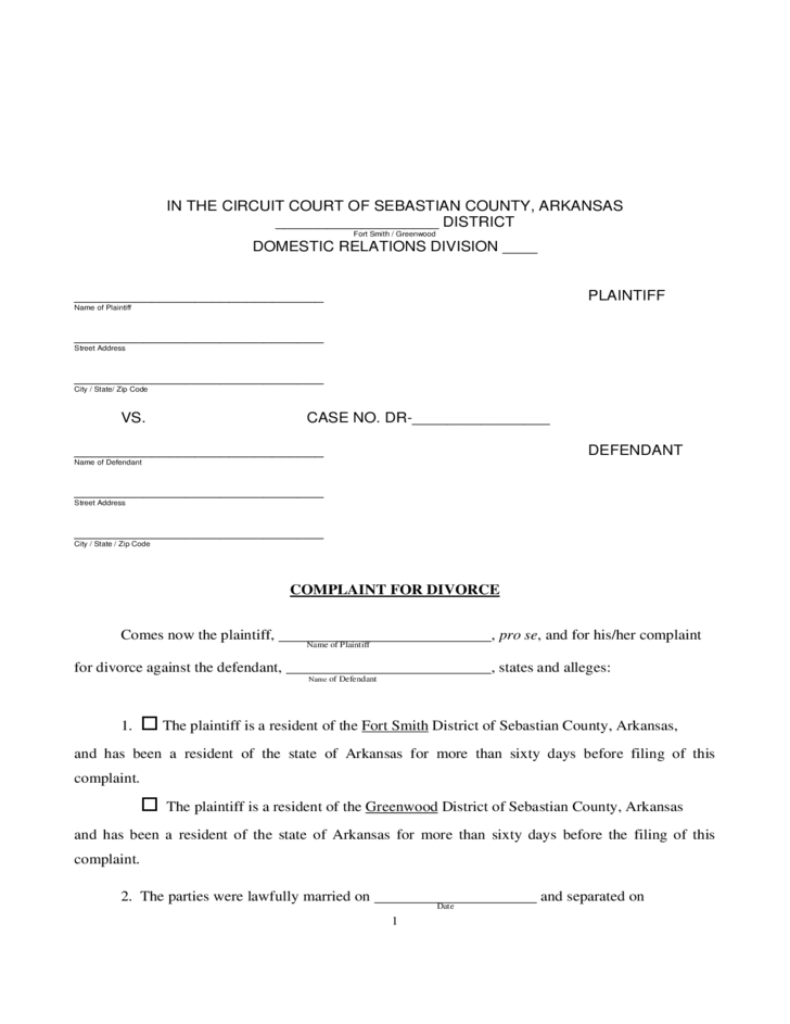 4 Divorce Information And Forms   Arkansas  Free Divorce Decree Forms