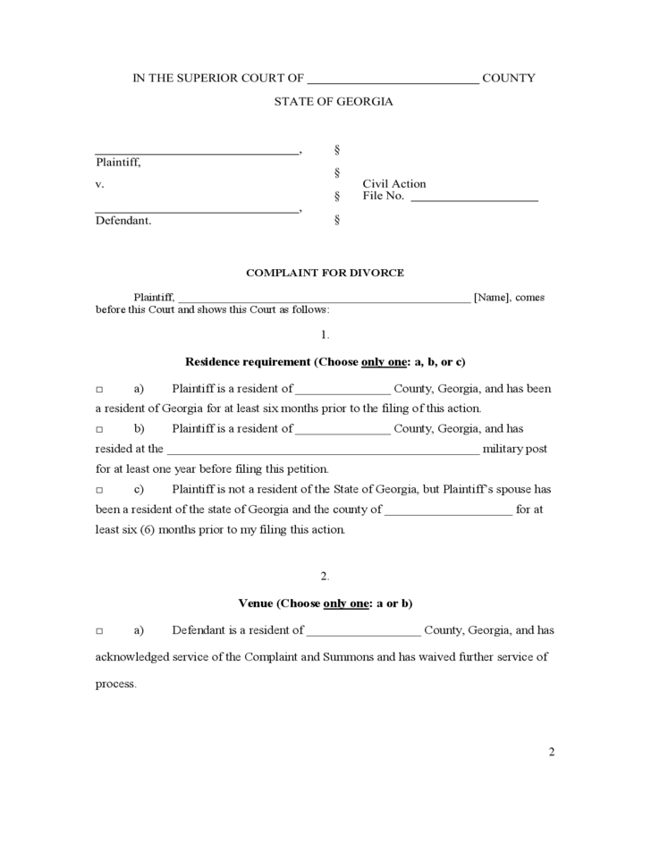 28 [ Free Ga Divorce Forms Line ]
