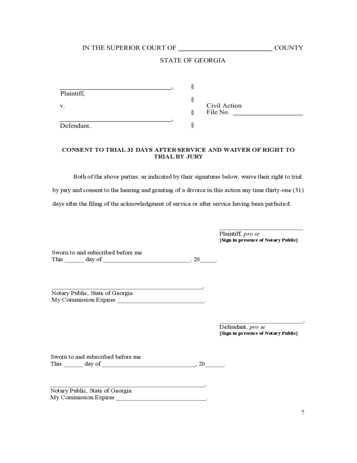 Nerdy image for free printable divorce papers for georgia