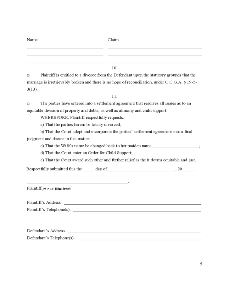 Dynamite image pertaining to free printable uncontested divorce forms georgia