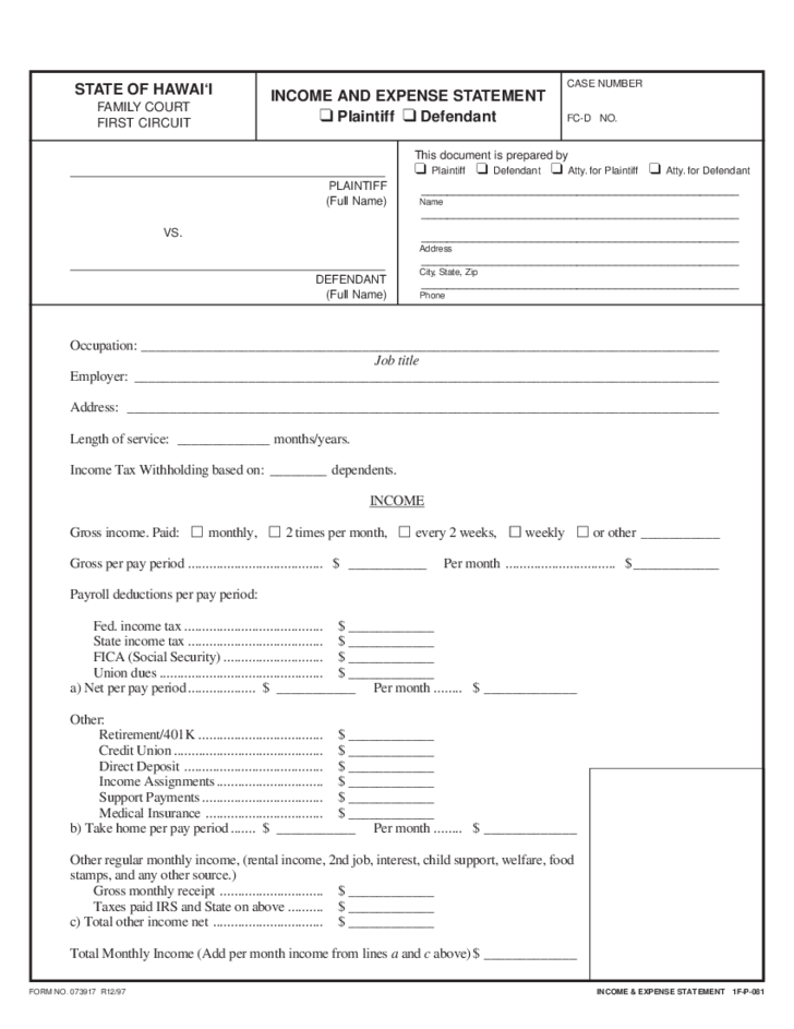 Free divorce forms hawaii