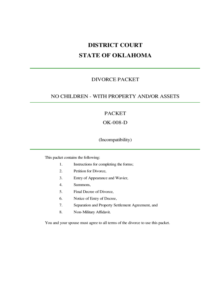 Divorce Packet With Property And Or Assets No Children