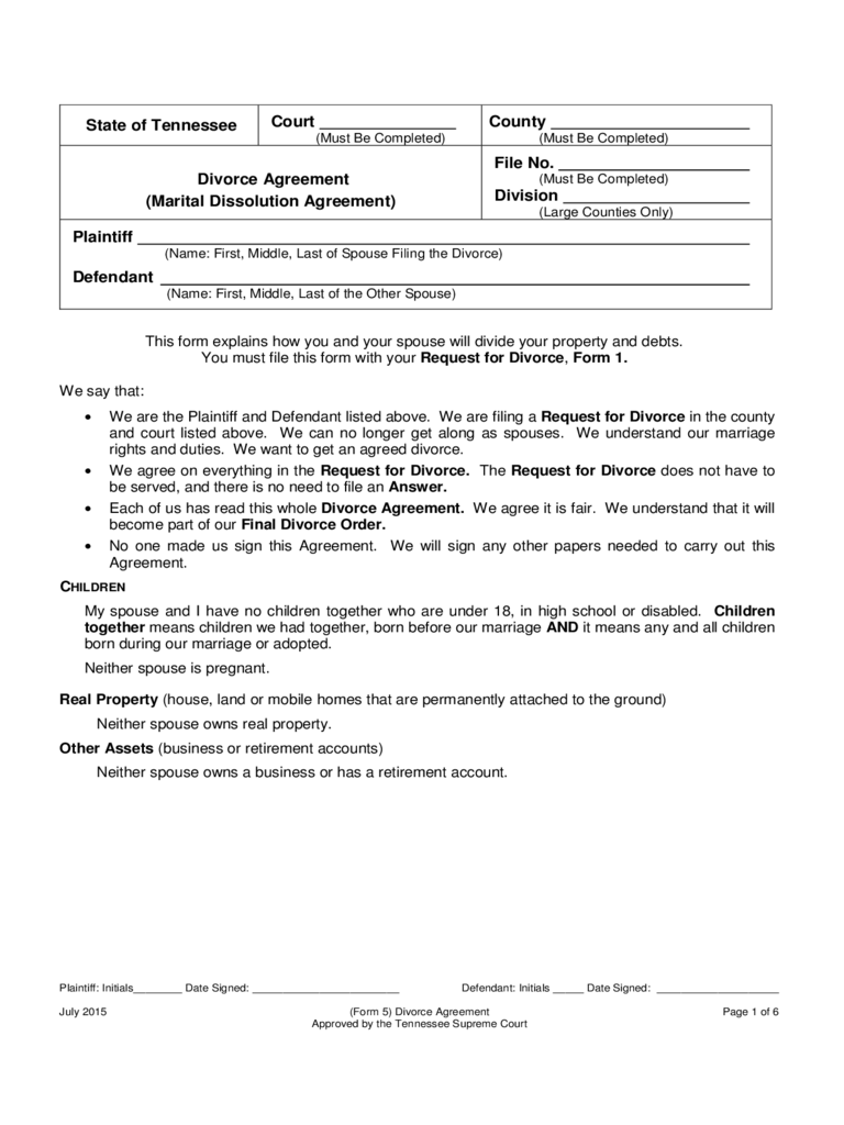 Divorce Agreement Form - Tennessee