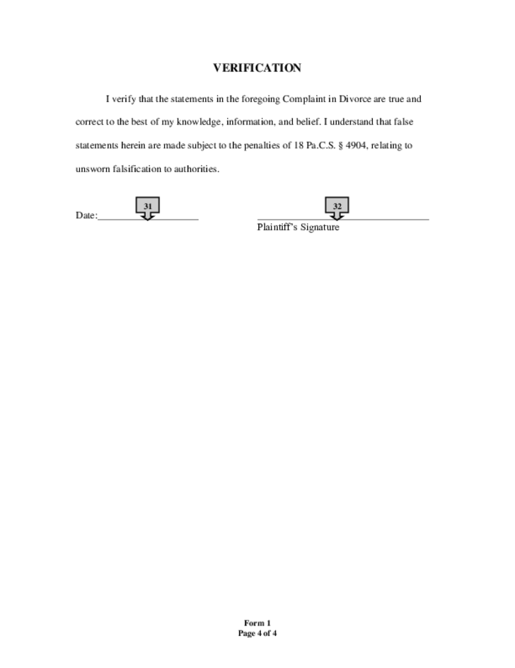 Complaint for Divorce Form - Pennsylvania Free Download