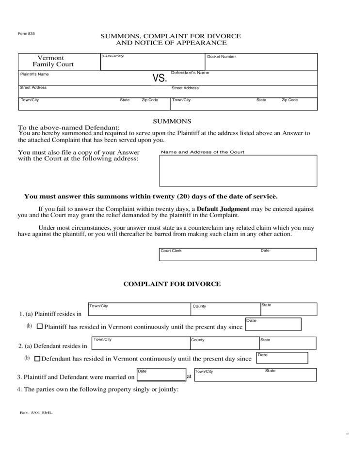 Lease Vs Rent >> Complaint for Divorce and Notice of Appearance- Vermont ...
