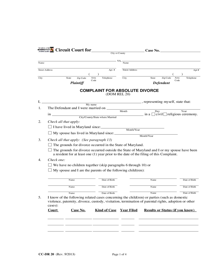 Complaint for Absolute Divorce - Maryland