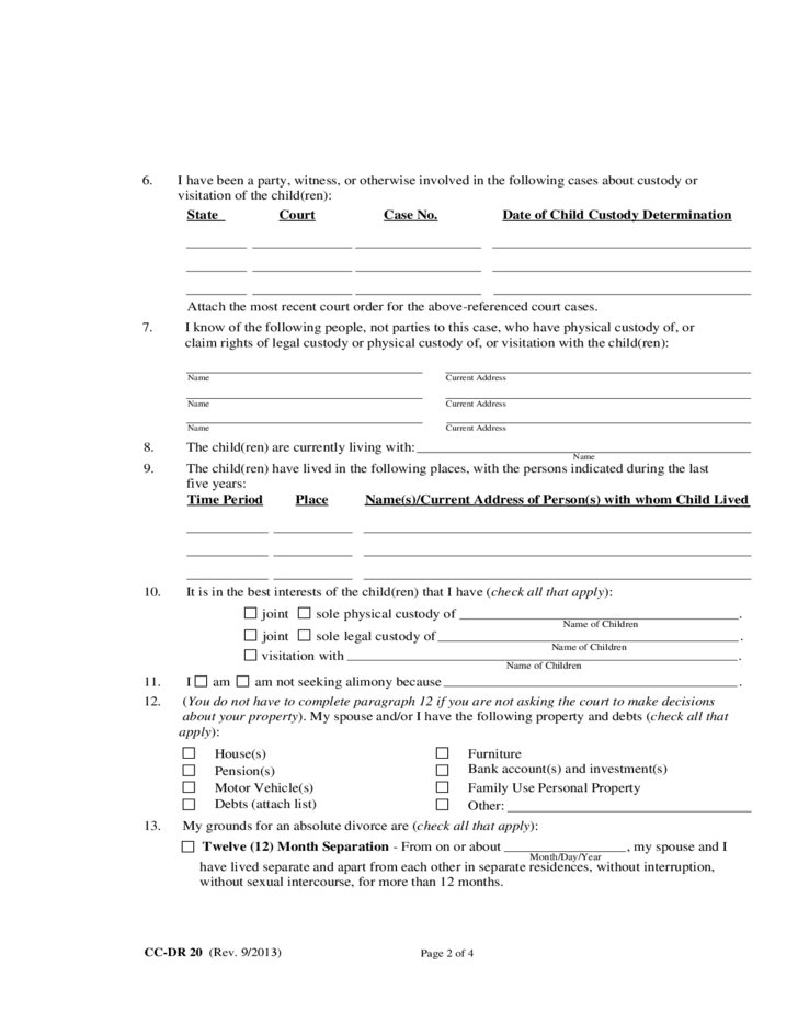 Maryland Divorce Forms