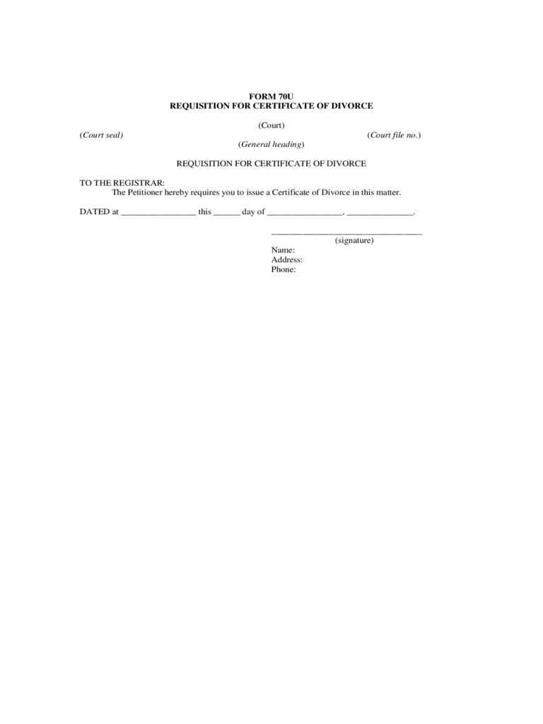 Requisition for Certificate of Divorce