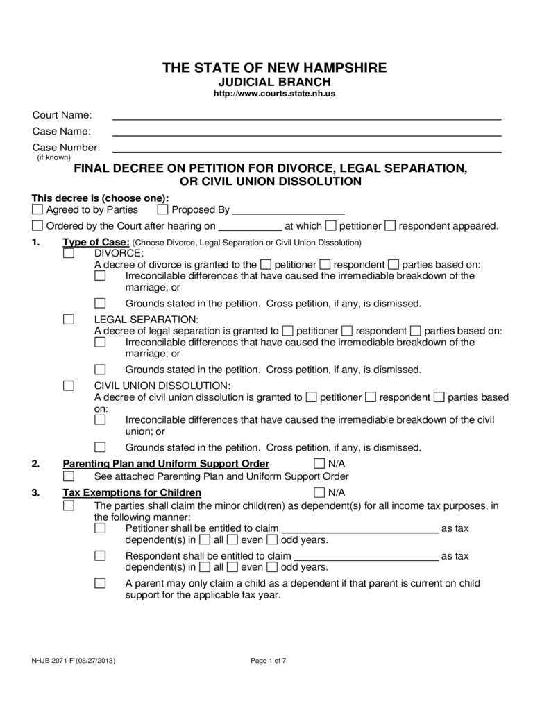 Final Decree on Petition for Divorce - New Hampshire