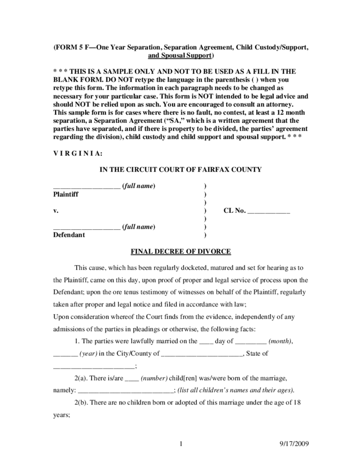 Doc17002338 Sample of Divorce Decree Doc17002338 Divorce – Sample of a Divorce Decree