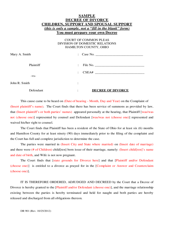 Sample Decree of Divorce Ohio Free Download