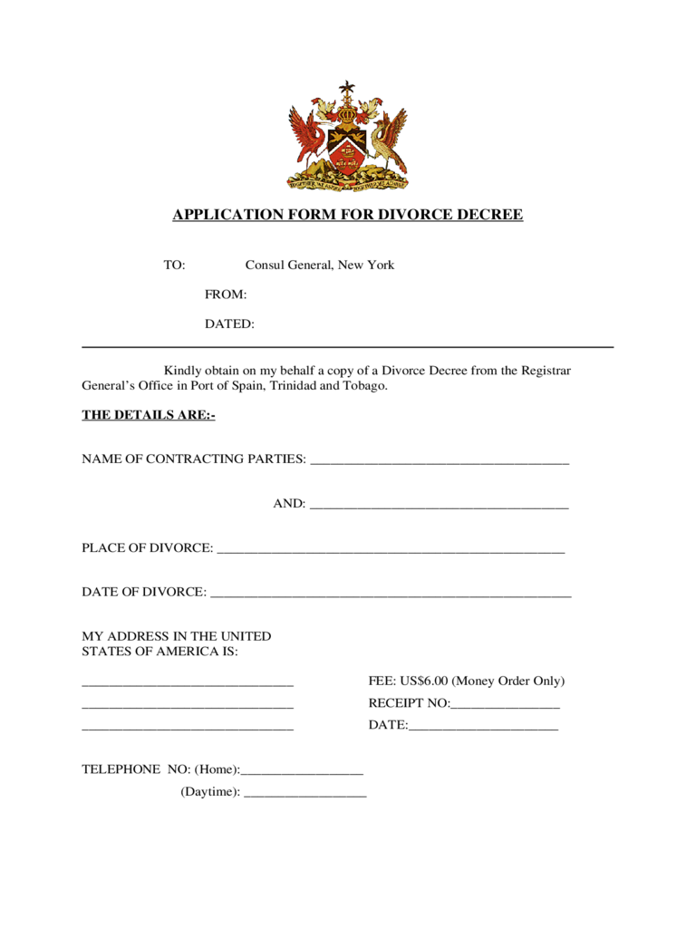 Application Form for Divorce Decree - New York