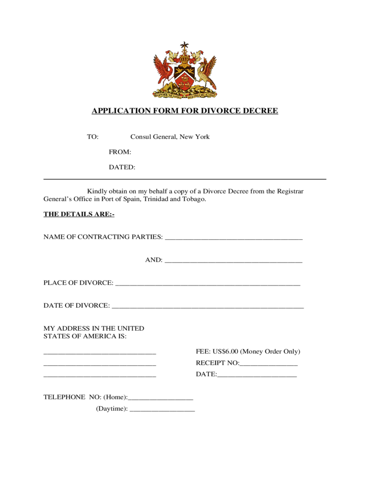 Application Form for Divorce Decree - New York Free Download