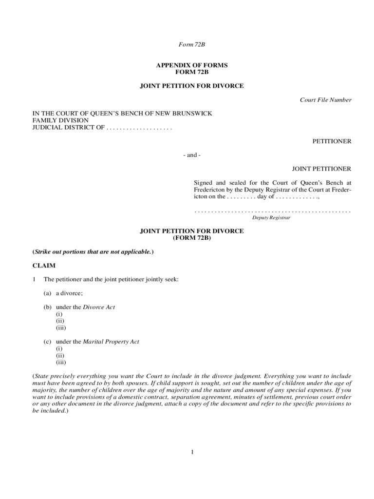 Form 72B - Joint Petition for Divorce - New Brunswick