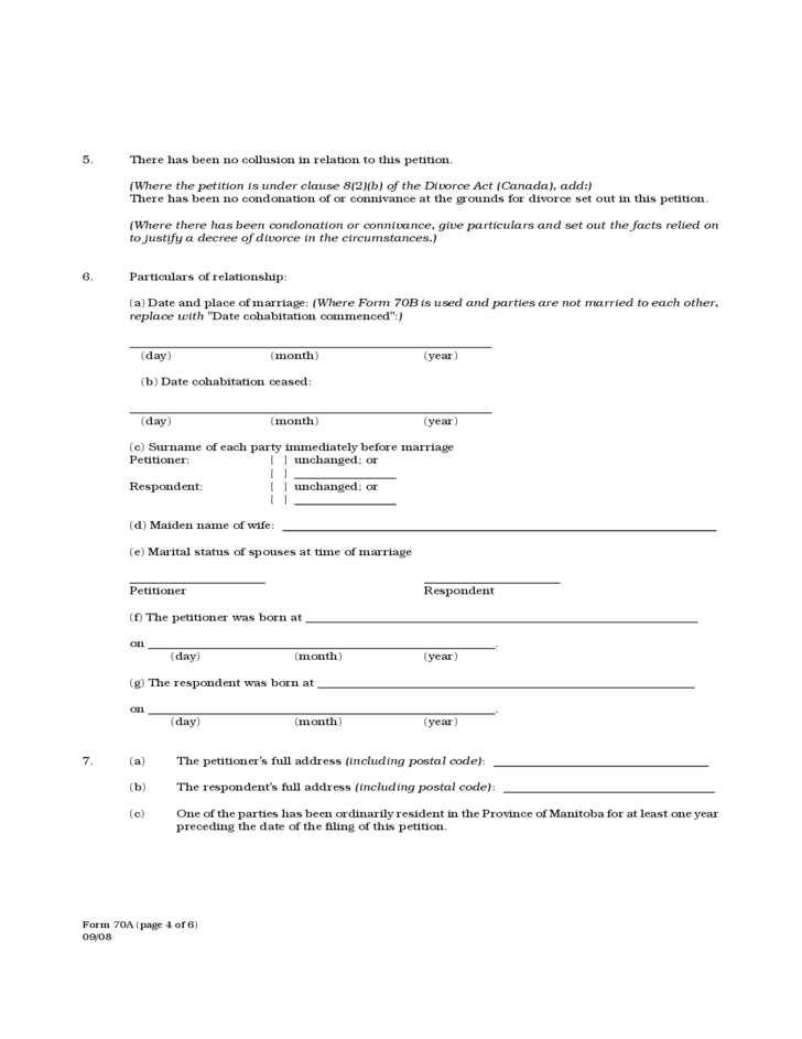 Form 70A - Petition for Divorce - Manitoba
